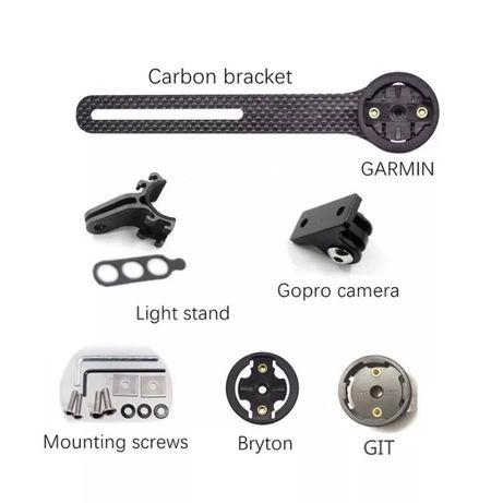 Prindere carbon Garmin GoPro Bryton Giant ghidon aero mount bicicleta