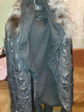 Дамско яке черно с топла вълнена подплата за есен,зима.