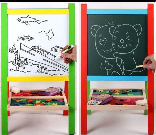 Tabla magnetica educativa cu doua fete accesorii si suport,pliabila