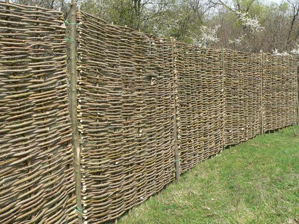 panou de gard, 180x180 cm, impletit din lemn (nuiele) de alun, 169 lei