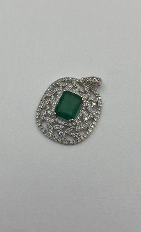 Кулон с бриллиантами и изумрудом, золото 585 (14K), вес 2.46 г. №27402