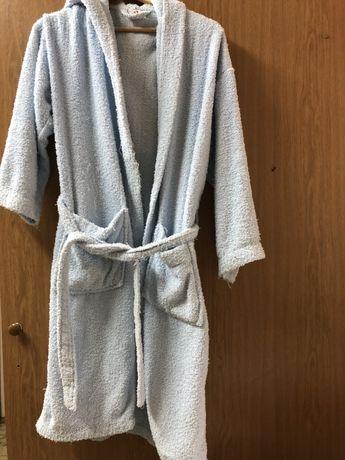 Светлосин халат с качулка