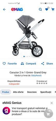 Vând cărucior 2in1 Gmini-Grand Grey