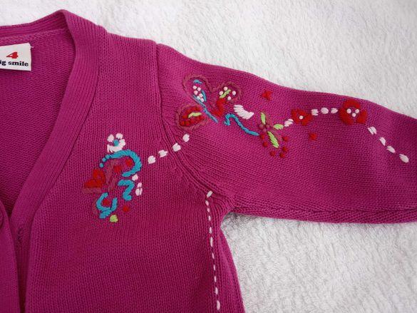 Цикламена памучна машинно плетиво жилетка за 4г.
