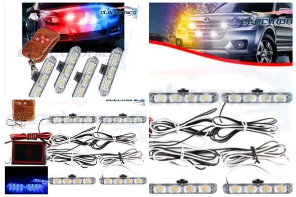 ПРОМО! 4-LED Универсални аварийни лампи, безжични блиц мигащи светлини