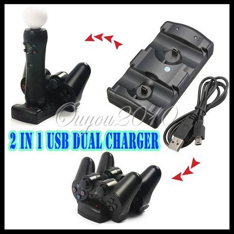 Ps3 Зарядно за контролери и мove контролери 2 В 1 + USB кабел Ново!