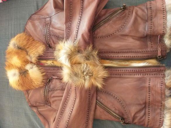 Ново кожено яке, с естествен косъм