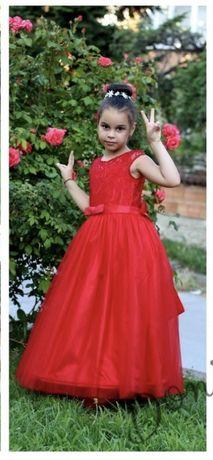 Дълга официална червена рокля за момиче
