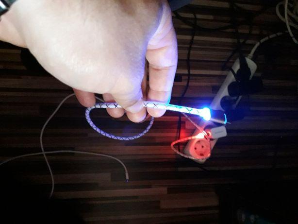 Cablu de date cu LED Fast +Incarcator pt Samsung, Iphone