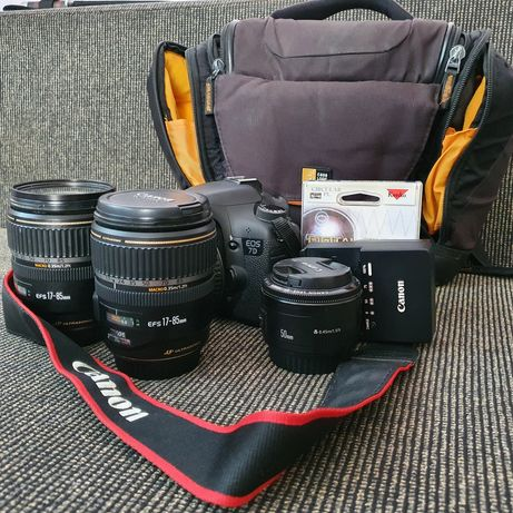 Фотоаппарат Canon 7D + 3 объектива, cf карта на 32 гб и сумка