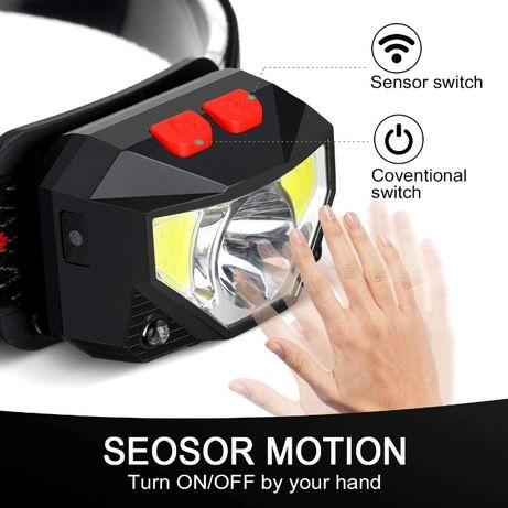 Челник-фенер (USB зареждане) за глава със сензор за движение 10 w