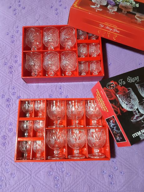 24 pahare de sticla transparenta