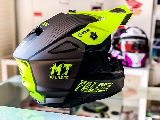 Casca Moto Cross /MX MT Falcon System Galben Fluo