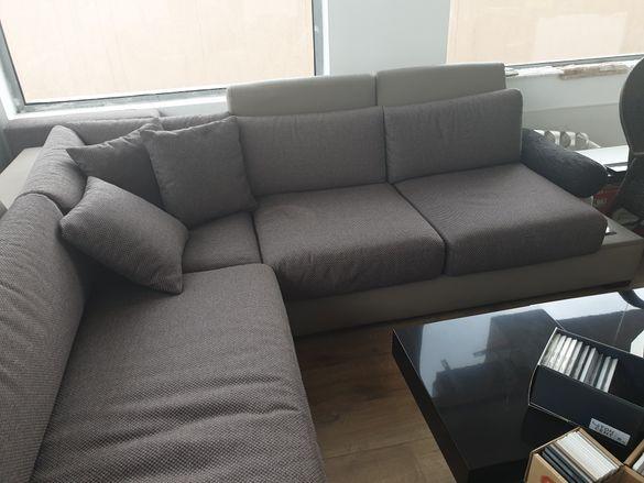 Ъглов кожен диван