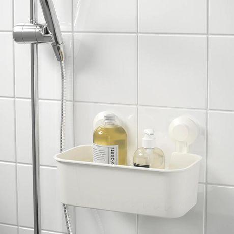 TISKEN IKEA ТИСКЕН ИКЕа Корзина на присосках для ванной, белый, новый