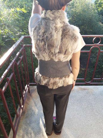 Уникален дамски елек с естествен заешки косъм