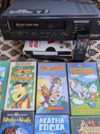 Видеоплеър Тошиба с подарък касети с детски филми и музикални концерти