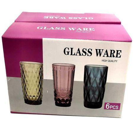 Фужеры стаканы GLASSWARE set 6 mix color, большой выбор, распродажа