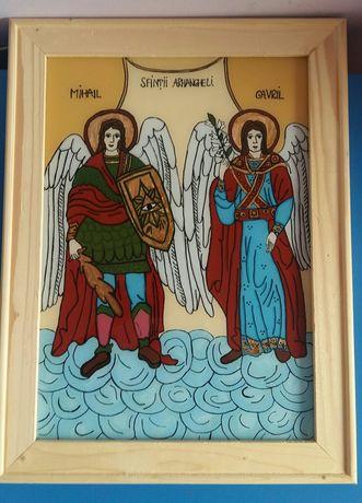Icoana pictata manual pe sticlă cu Mihail și Gavril