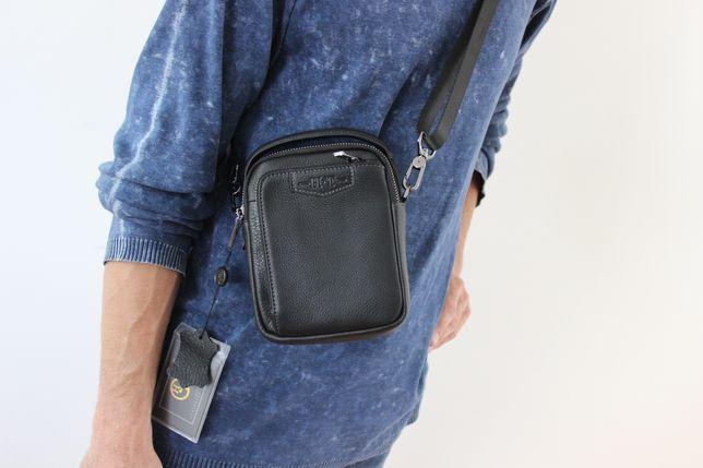 Мужская барсетка сумка через плечо из натуральной кожи НТ