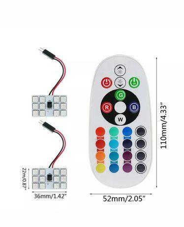 Plafonieră multicoloră Rgb cu telecomandă 2 x 12 leduri t10 w5w
