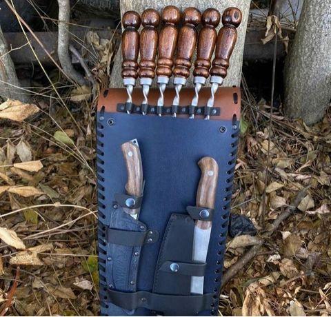 Подарочный набор в кожаном чехле (ножи, шампура) Кизляр