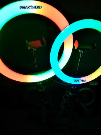 +ПОДАРОК! Цветные кольцевые лампы 26/33 см RGB LED для селфи тик ток