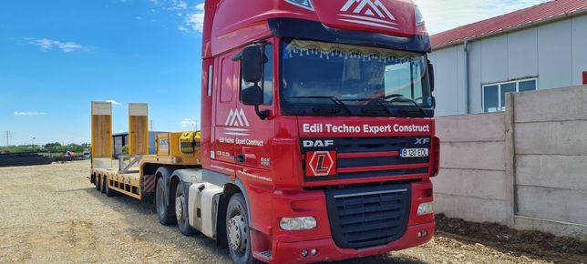 transport utilaje de constructii/agricole cu trailer rampe hidraulice
