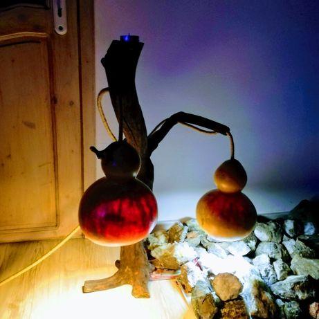 Лампа ръчна изработка/естествен материал/дърво/настолна/кратуни