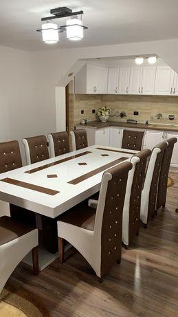 Set masa 10 persoane alb & maro