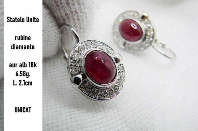 Unicat Cercei Aur Alb 18K Rubine Diamante