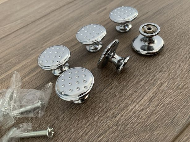 Set 6 butoni mobila/mobilier, crom lucios, 30mm, NOU