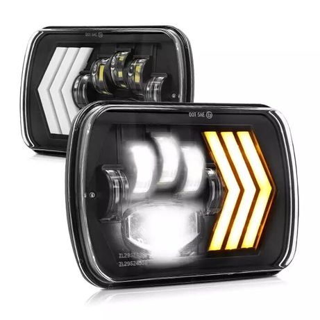 """Комплект Правоъгълни LED фарове 5x7"""" 95W H4 букса, 4 светлини"""