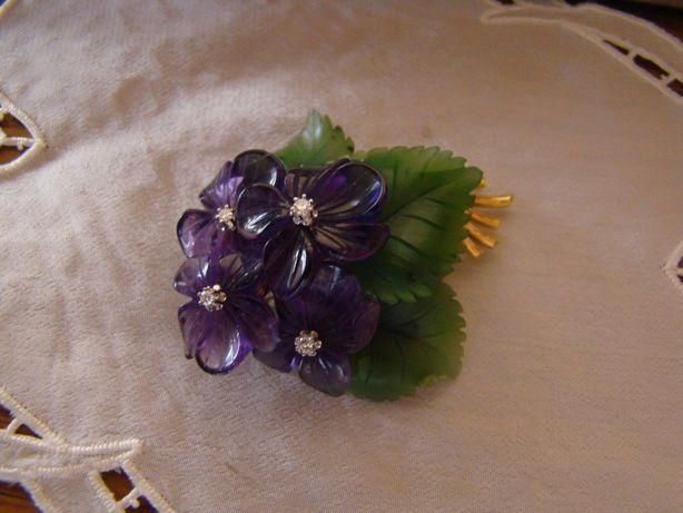 oferta- Buchet de violete- brosa aur 14kt,cu ametiste,briliante,nefrit
