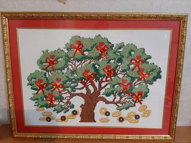 Картины ручной работы выбиты крестиком, картина из натуральной кожи, и