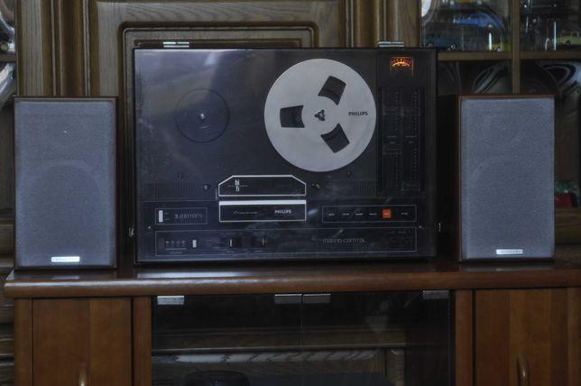 Magnetofon vintage Philips N4415 cu boxe Kenwood