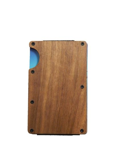 Дървен картодържач тъмен орех - портфейл