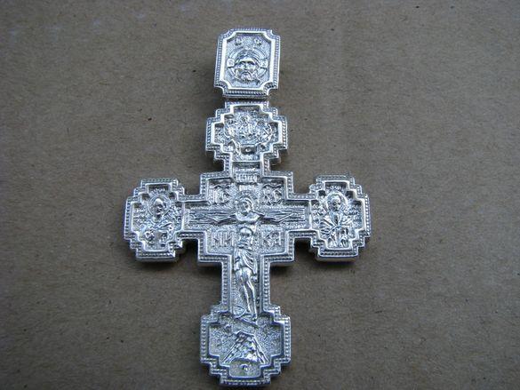 Масивен двоен сребърен кръст