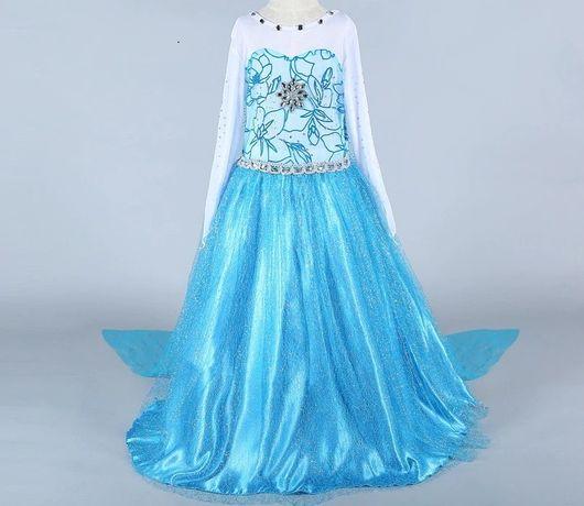Rochie rochita printesa NOUA Elsa cu trena 5,6,7,8 ani