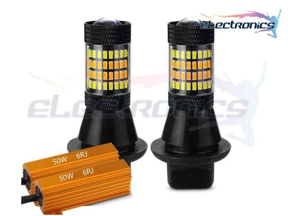 НОВО!!! Дневни LED светлини с мигач DRL , ba15s, Smd, лед крушки, бели