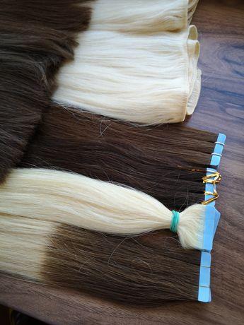 Естествена коса на стикери 50 см руса треса 40см