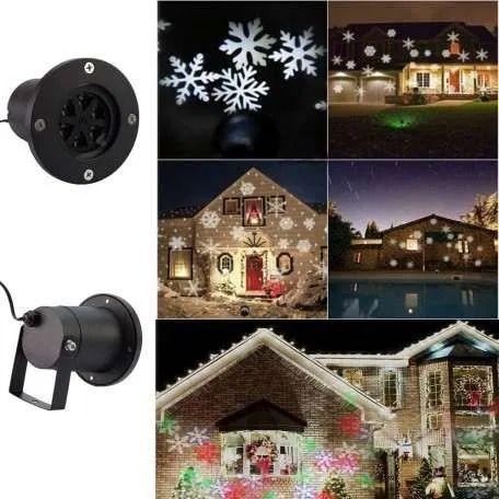 Proiector LED RGB joc de fulgi de zapada, 4W, metalic, pentru exterior
