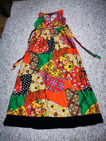 Pret fix...Rochie motiv floral, marime S, lungime 130 cm