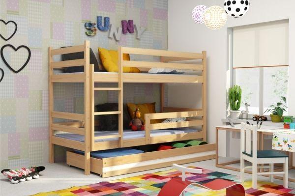Pat etajat pentru 2 copii, 190x80 cm