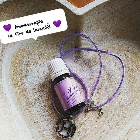 Set pandantiv aromaterapie și ulei esențial de lavandă