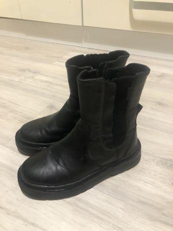 Кожаные челси ботинки Zara