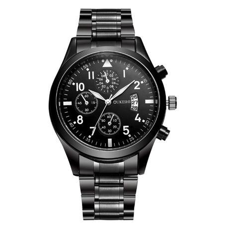 Мъжки луксозен моден ръчен часовник с календар от неръждаема стомана