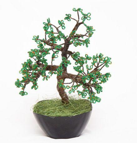 Бонсай дерево из бисера ручная работа топиарий подарок на 8 марта