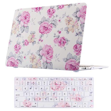 Carcasa + tastatura Macbook Air 13'' A1369 A1466 flori roz alb
