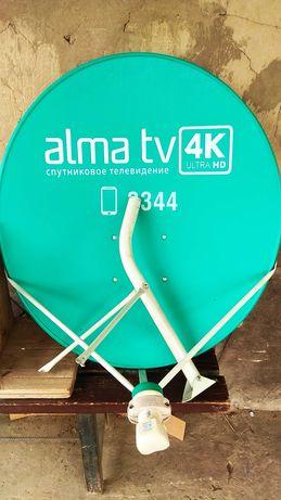Комплект оборудования Алма ТВ, антенна, головка и ресивер.